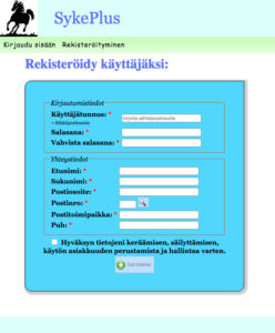 Verkkokauppaan rekisteröityminen - Kuntosali SykePlus